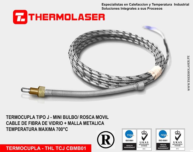 TERMOCUPLA TIPO J CON MINIBULBO - ROSCA MOVIL - CABLE DE FFV + MALLA ACERO INOX.